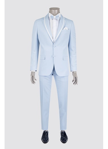 D'S Damat Slim Fit Düz Smokin Takım Elbise Mavi